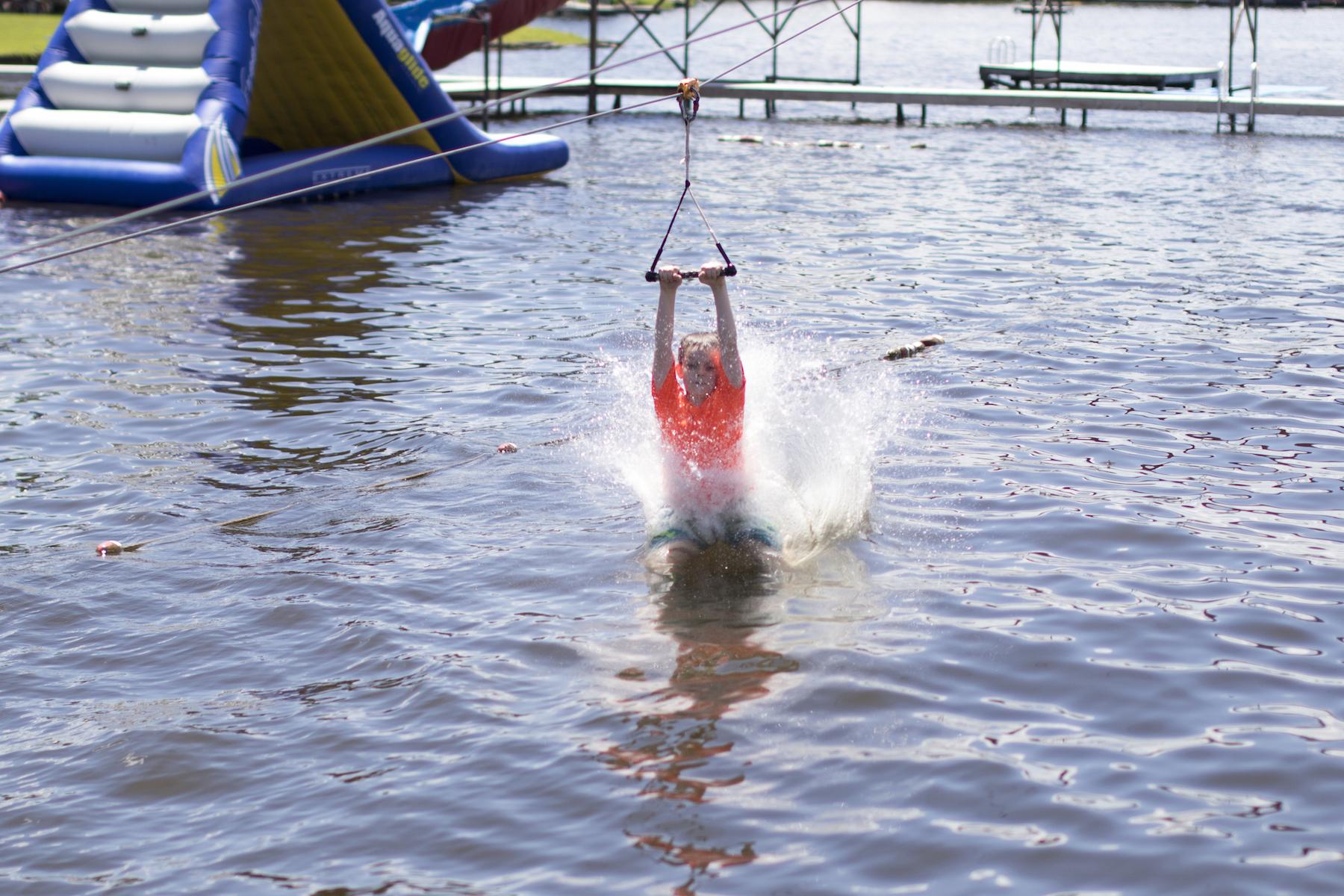 Splash down on the water zipline!