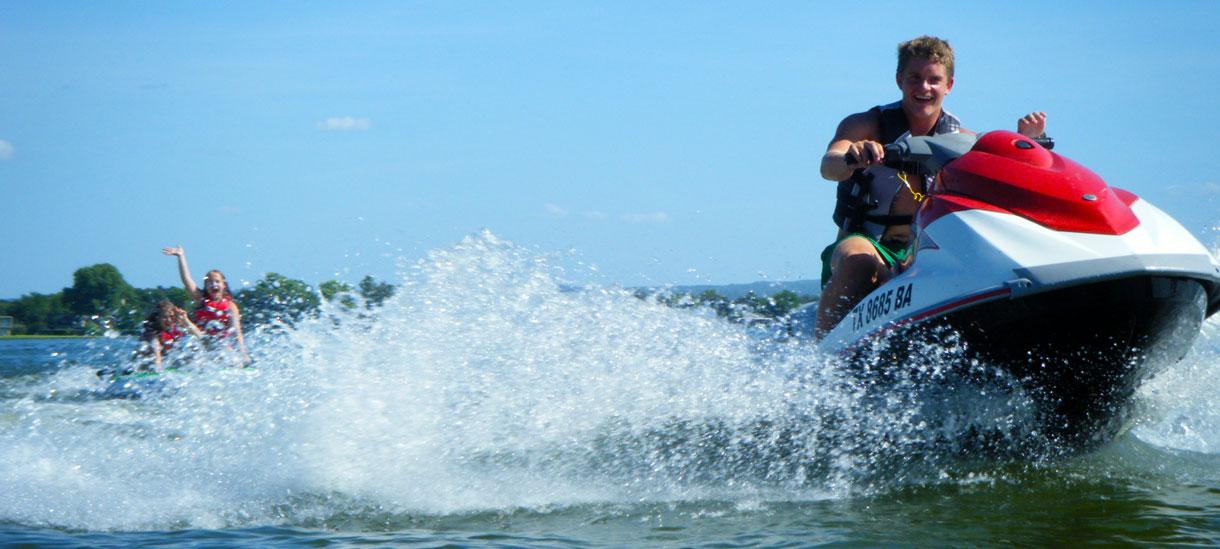 Tubing behind a jet ski is a ton of fun!!