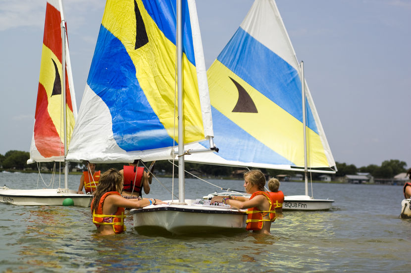 Sailing on the water at Camp Champions. You know it's HOT in the summer down here in Texas.