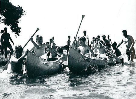 Canoe Wars at Trojan Spartan games at Camp Champions in 1967.